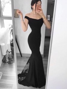 Mermaid Off the Shoulder Open Back Black Satin Long Prom Dresses with Appliques,Evening Party Dresses