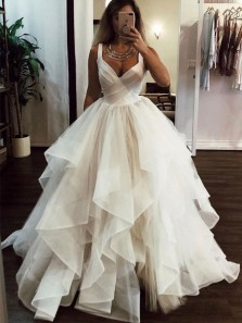 Fairy Ball Gown Straps Open Back Ivory Tulle Tiered Wedding Dresses