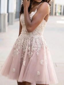 New Arrival V Neck Cross Back Blush Tulle Short Homecoming Dresses,Lace Short Prom Dresses