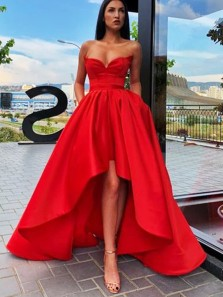 Gorgeous A-Line Sweetheart Open Back Red Satin High Low Prom Dresses with Pockets,Formal Evening Party Dresses
