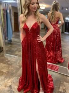 Sparkly A-Line V Neck Cross Back Red Sequins Long Prom Dresses with Slit,Glitter Formal Evening Party Dresses