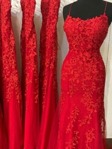 Mermaid Scoop Neck Cross Back Red Tulle Long Prom Dresses with Appliques