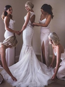 Gorgeous Sheath Cowl Neck Spaghetti Straps Light Pink Elastic Satin Long Bridesmaid Dresses with Split