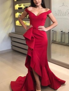 Romantic Mermaid Off the Shoulder Red Satin Long Prom Dresses with Ruffle,Formal Evening Party Dresses