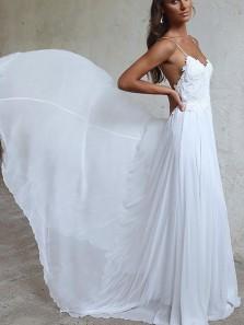Elegant A-line Straps White Long Chiffon Bridal Gown Beach Wedding Dress