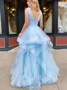 Princess A-Line V Neck Open Back Sky Blue Tulle Long Prom Dresses,Formal Graduation Party Dresses