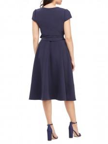 Elegant A-Line V Neck Cap Sleeves Tea Length Navy Blue Wedding Guest Dresses with Pockets