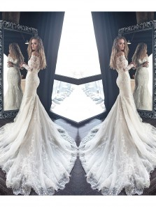 Gorgeous Ivory Lace Mermaid Long Sleeve Off Shoulder Wedding Dress With Applique