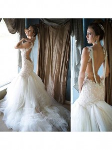 Glamorous Pearls Mermaid Wedding Dress Tulle Lace Bridal Dresses Backless Wedding Gowns