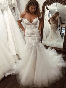 Stunning Mermaid Off the Shoulder Open Back White Tulle Wedding Dresses with Appliques,Lace Wedding Dresses