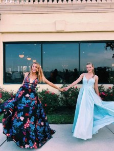 Unique A-Line Deep V Neck Open Back Lace Appliques Long Prom Evening Dresses