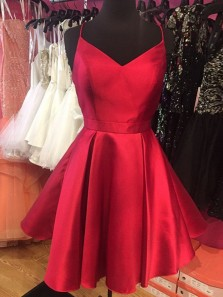 Cute A Line V Neck Spaghetti Straps Black Satin Short Homecoming Dresses with Pockets, Little Black Dresses, Junior Homecoming Dresses Under 100 HD0721004