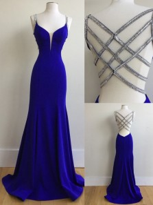 Unique Mermaid V Neck Criss Cross Back Royal Blue Elastic Satin Long Prom Dresses with Beading,Formal Party Dresses 1908070013