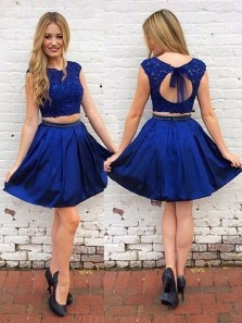 Cute Two Piece A-Line Round Neck Hollow Back Royal Blue Lace Short Homecoming Dresses with Beaded,Back to School Dresses 1908070016