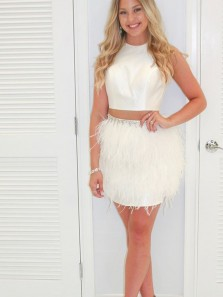 Unique Two Piece Round Neck Ivory Satin Short Homecoming Dresses with Feather,Back to School Dresses 1908070021