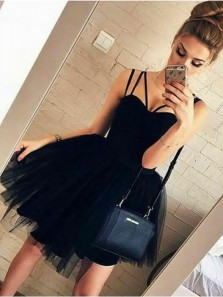Cute Sweetheart Spaghetti Straps Black Tulle Short Homecoming Dresses, Short Party Dresses, Daily Dresses 1908070025