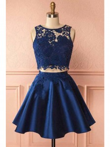 Cute A Line Round Neck Two Piece Navy Blue Lace Short Homecoming Dresses, Short Party Dresses with Pockets 1908070028