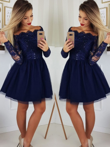 Cute A Line Off the Shoulder Long Sleeves Navy Blue Short Homecoming Dresses 1908070029, Sparkly Lace Homecoming Dresses