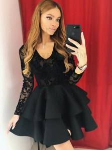 A-Line V Neck Long Sleeve Black Lace Short Homecoming Dresses,Tiered Back to School Dresses,Little Black Dresses 190807003
