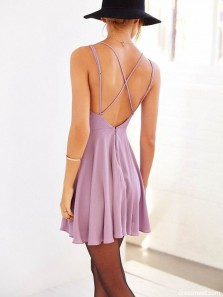 Simple A Line V Neck Cross Back Pink Chiffon Short Homecoming Dresses Under 100, Cute Short Party Dresses 1908070030