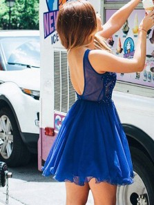 Cute A Line V Neck Open Back Royal Blue Lace Short Homecoming Dresses with Beading, Sparkly Short Party Dresses 1908070031