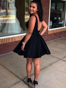Cute A Line V Neck Open Back Black Satin Short Homecoming Dresses Under 100, Homecoming Dresses with Pockets, Cocktail Dresses