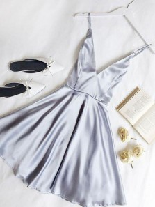 A Line V Neck Spaghetti Straps Open Back Light Grey Satin Short Homecoming Dresses, Cute Cocktail Dresses Under 100 1908070036