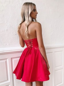 Cute A Line Strapless Tie Back Red Short Homecoming Dresses with Pockets Under 100 1908070037