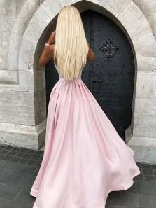 A Line V Neck Spaghetti Straps Pink Satin Long Prom Dresses, Pretty Long Prom Dresses, Formal Dresses 1908070041