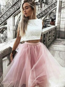 Cute A Line Bateau Neck White and Pink Short Homecoming Dresses, Two Piece Tulle Short Dresses 1908070046