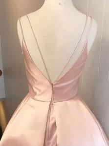 Simple A-Line V Neck Spaghetti Straps Open Back Blush Pink Satin Homecoming Dresses Short Under 100 190807006