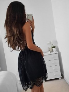 Sexy A-Line V Neck Spaghetti Straps Open Back Black Lace Short Homecoming Dresses,Evening Party Dresses 190808001