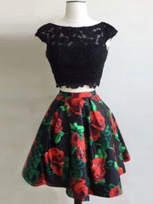Modest Two Piece Bateau Neck Open Back Cap Sleeve Floral Printed Short Homecoming Dresses with Lace 190808008