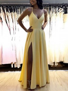 Simple A Line V Neck Yellow Satin Long Prom Dresses Under 100, Split Spaghetti Straps Prom Dresses 190808013