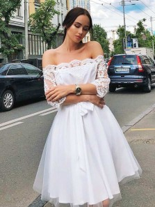 Cute A Line Off the Shoulder Half Sleeves White Short Homecoming Dresses, Charming Short Homecoming Dresses 190808014
