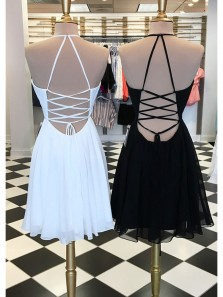 A Line V Neck Cross Back Embroidery White Short Homecoming Dresses, Flower Mini Homecoming Dresses 190808016