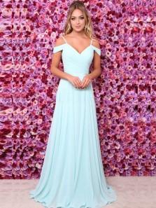 Simple A-Line Off the Shoulder Open Back Light Blue Chiffon Long Prom Dresses with Straps,Elegant Evening Dresses