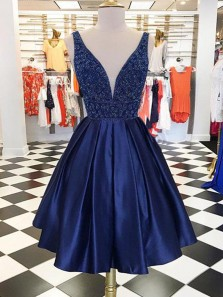 Cute A-Line V Neck Open Back Navy Blue Satin Short Homecoming Dresses with Beading,Short Prom Dresses