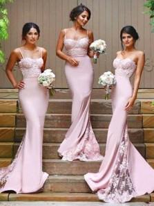 Elegant Mermaid Sweetheart Spaghetti Straps Open Back Pink Elastic Satin Long Bridesmaid Dresses