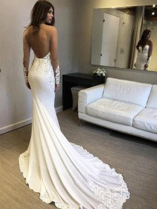 Unique Mermaid Round Neck Open Back Long Sleeve White Wedding Dresses with Lace