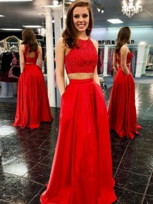 Unique A-Line Two Piece Round Neck Open Back Red Satin Long Prom Dresses with Beading Pockets,Formal Party Dresses