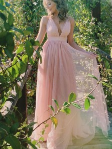 Simple A-Line Deep V Neck Open Back Pink Tulle Long Prom Dresses,Cheap Bridesmaid Dresses Under 100