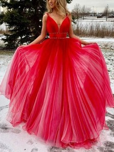 Stylish A-Line V Neck Open Back Red Tulle Long Prom Dresses,Evening Party Dresses