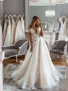 New Arrival A-Line V Neck Cap Sleeves Lace Wedding Dresses Bridal Gowns