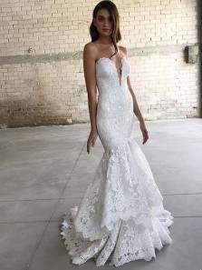 Charming Mermaid Sweetheart Open Back White Lace Wedding Dresses