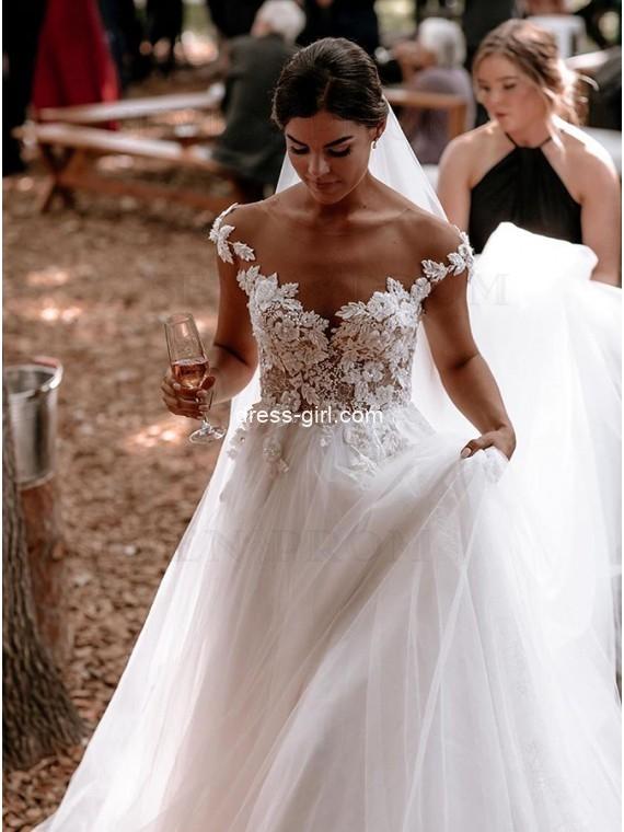 Elegant A-Line Sheer Neck Cap Sleeve White Tulle Lace Wedding Dresses
