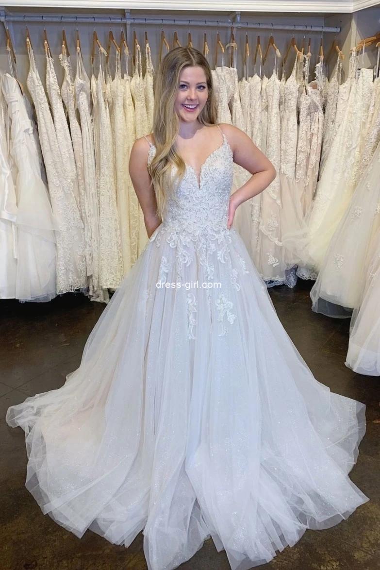 White V Neck Spaghetti Straps Tulle Lace Wedding Dresses