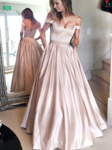 Elegant A-Line Off the Shoulder Satin Long Prom Dresses with Pockets,Formal Party Dresses