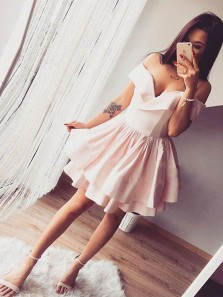 Simple A-Line Off the Shoulder Light Pink Satin Homecoming Dresses,Short Prom Dresses