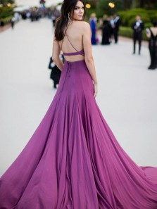 Charming Two Piece Prom Dresses Halter Backless Purple Elastic Satin Long Evening Party Dresses